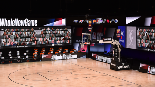 Courts in the NBA bubble were outfitted with 17-foot-tall LED screens that wrap three sides of the arena to display seating that is populated with more than 300 virtual fans.