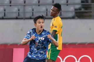 Kubo Takefusa celebrating his goal against South Africa