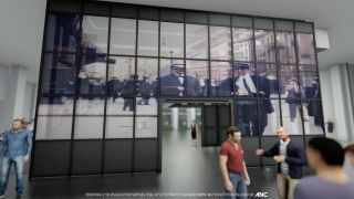 GLAAM America Media Glass wall at the Tin Building, New York