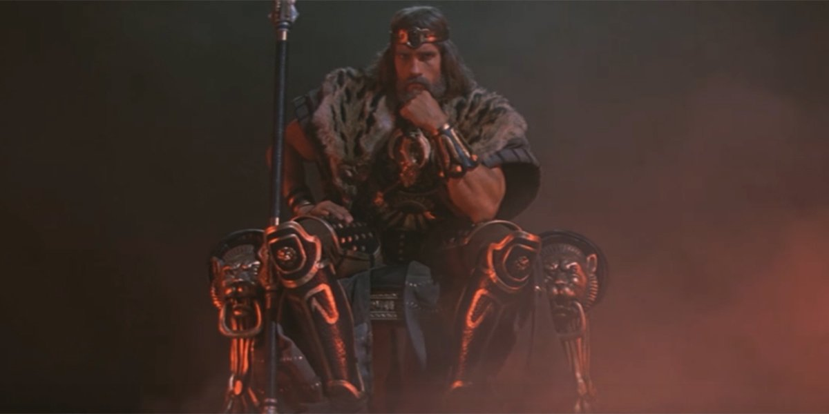 Conan sitting on his throne
