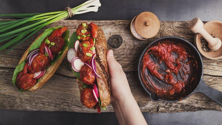 Vegetarian substitute vegan meatball sub