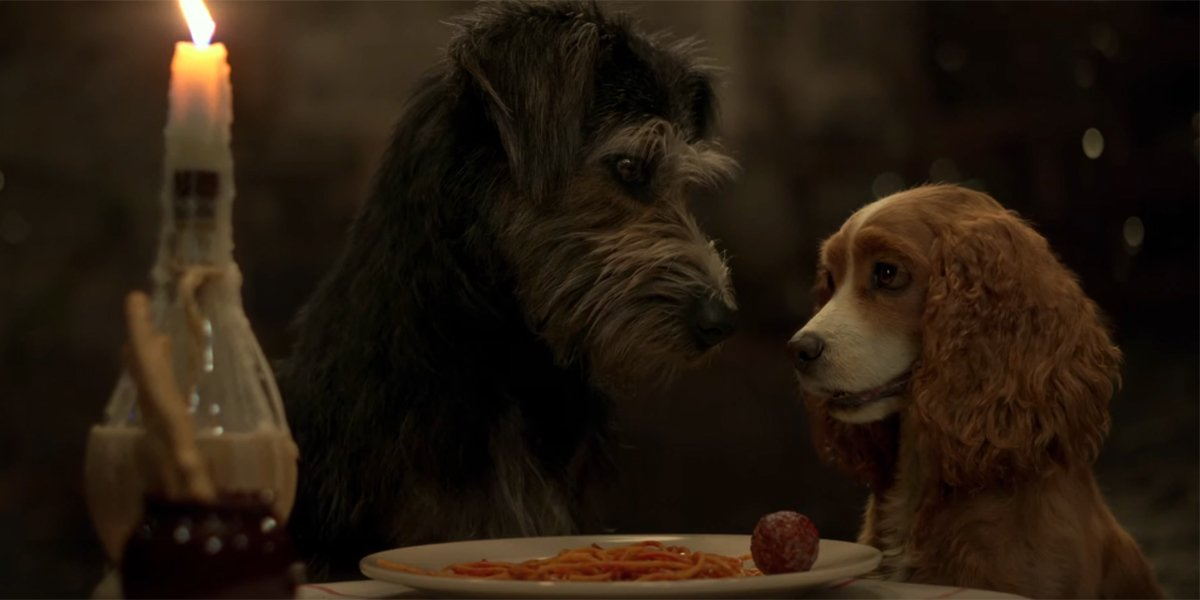Lady and the Tramp sharing a spaghetti dinner