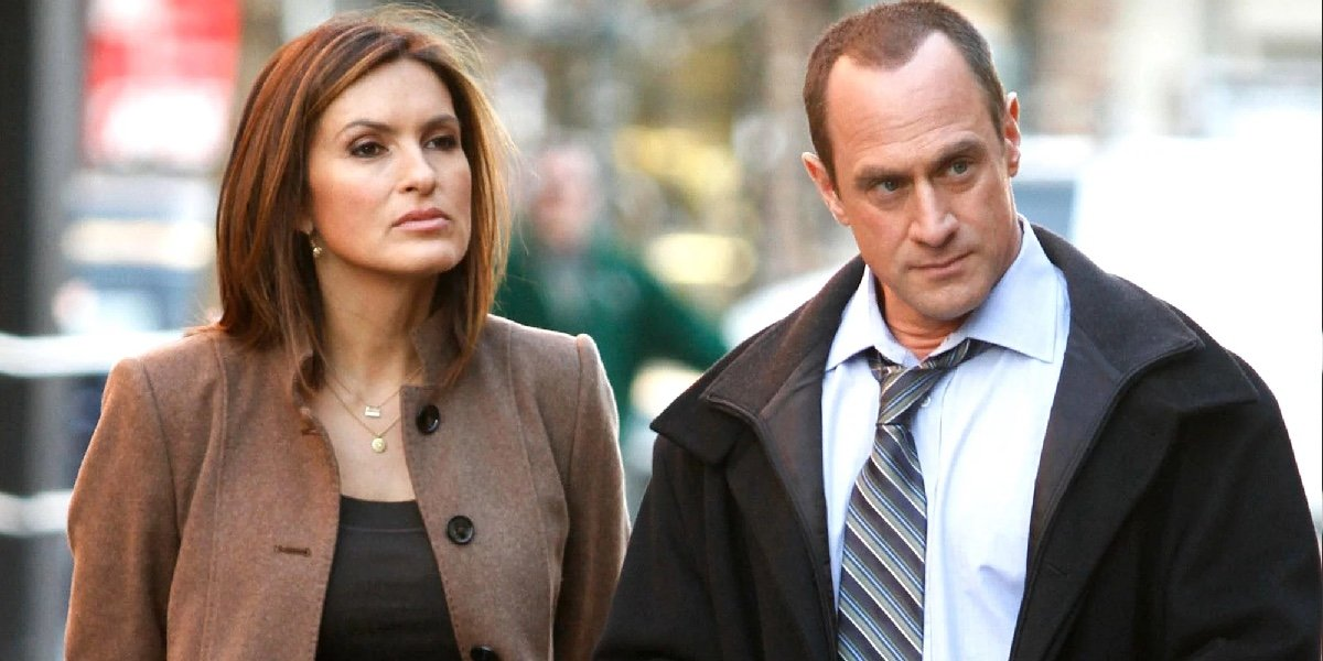 Mariska Hargitay as Olivia Benson and Christopher Meloni as Elliot Stabler in Law & Order: Special Victims Unit.