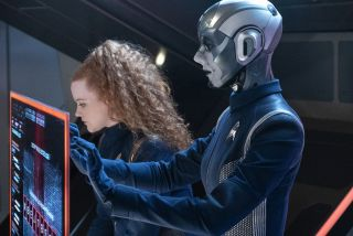 "Tilly (Mary Wiseman) works with Airiam (Hannah Cheesman) to crack a code in the ""Star Trek: Discovery"" episode ""Project Daedalus."""