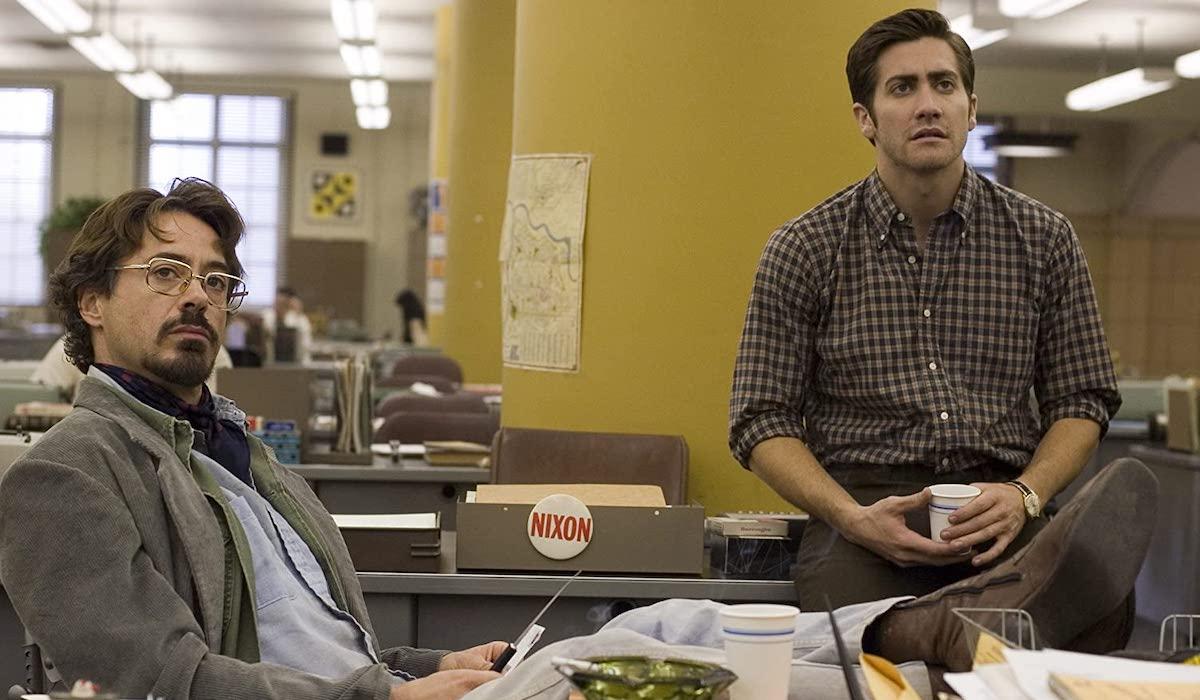 Robert Downey Jr and Jake Gylenhaal in Zodiac