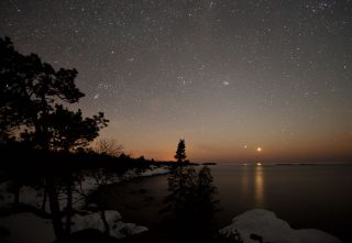 Skywatcher Shawn Malone captured this view of Venus and Jupiter from near Eagle Harbor, Mich.