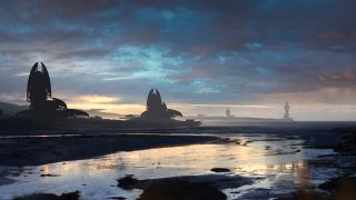 Speed painting and speed drawing: Digital painting shows an alien landscape