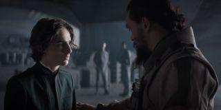 Timothee Chalamet and Jason Momoa in Dune