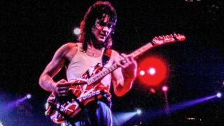 Eddie Van Halen performing on the Van Halen '5150 Tour' in 1986.