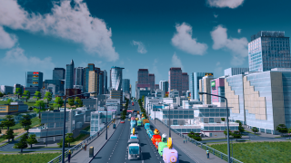 A busy street in Cities: Skylines