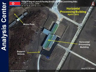 This DigitalGlobe satellite image of the Tongchang-ri Launch Facility in North Korea shows the site's horizontal processing building. The image was taken on April 9, 2012.