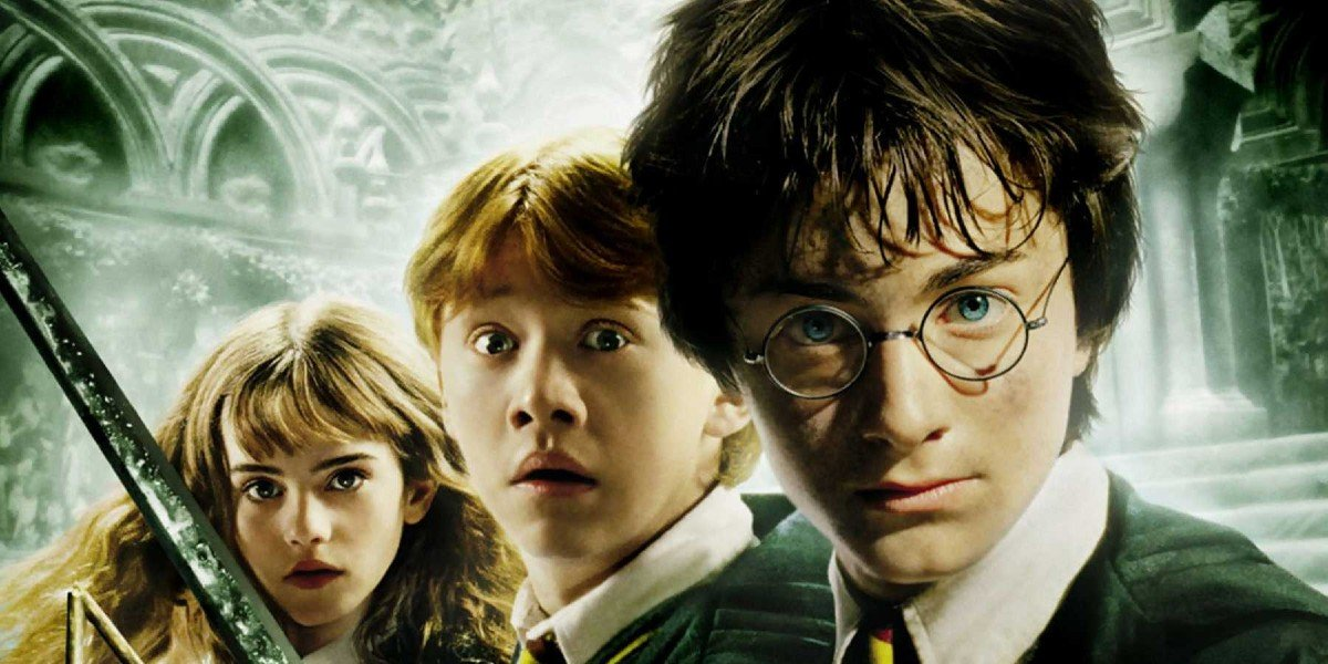 Rupert Grint, Daniel Radcliffe, and Emma Watson in Harry Potter and the Chamber of Secrets