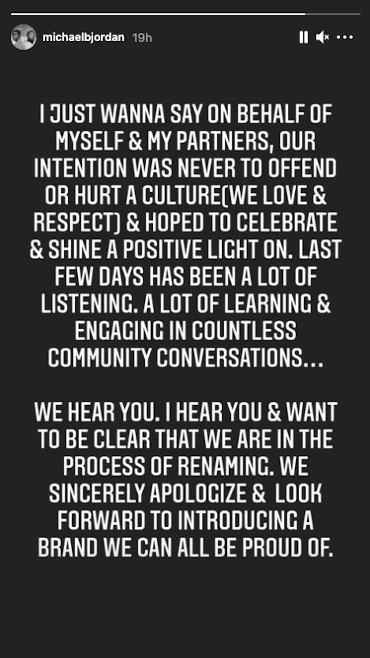 Michael B Jordan rum apology