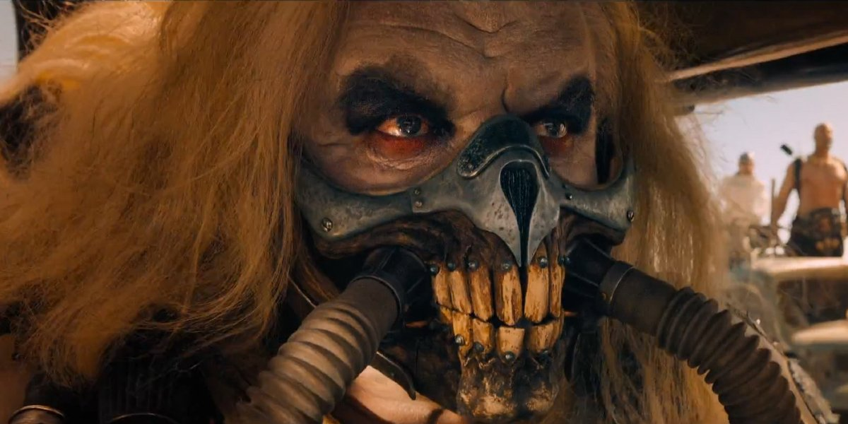 Mad Max: Fury Road Immortan Joe scowling in the driver's seat