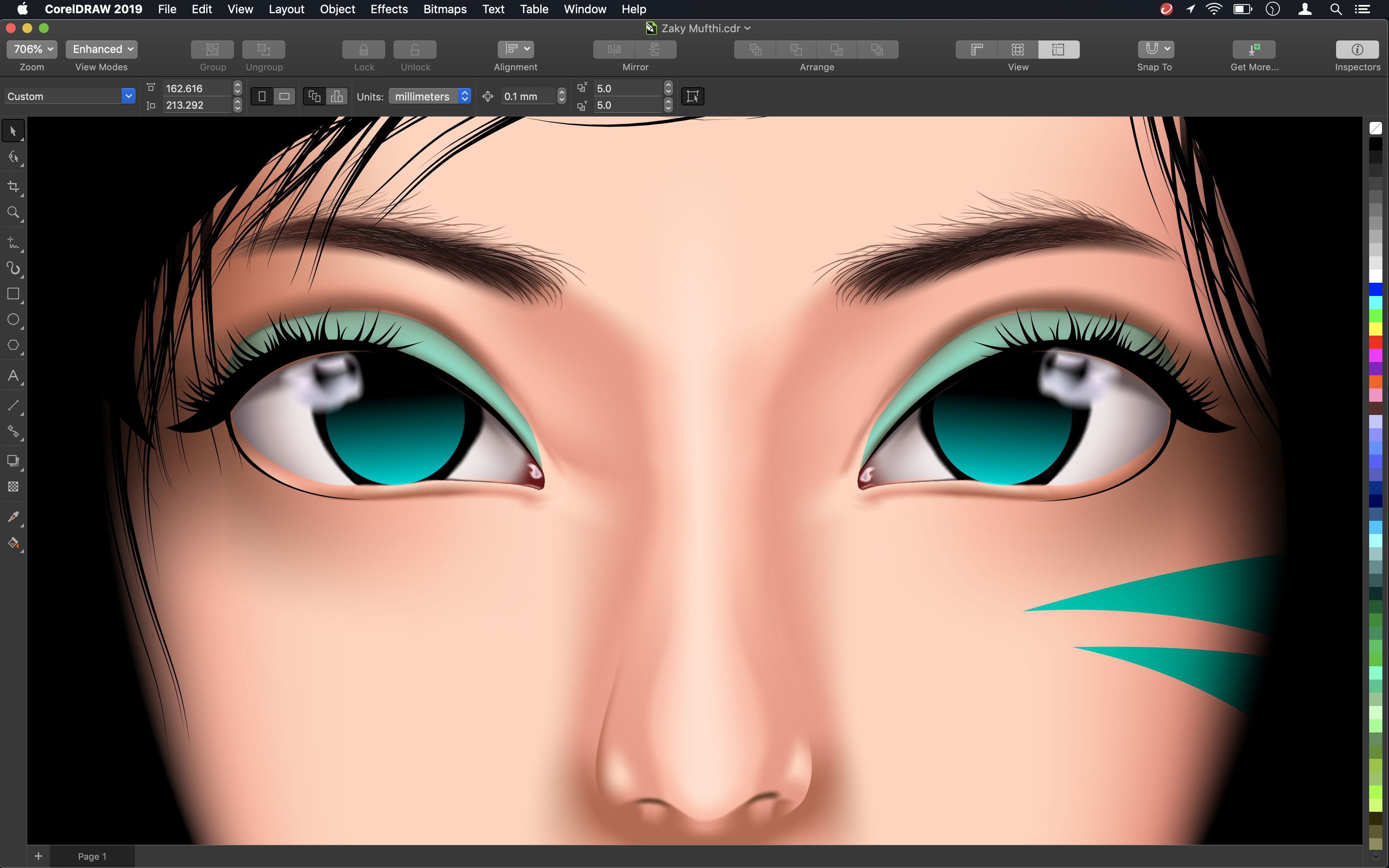 Screenshot of eyes being colour-corrected in CorelDRAW