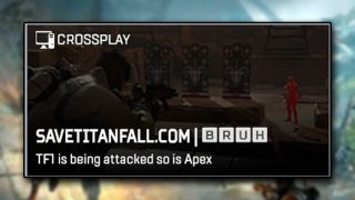 """An image of a hacked Apex Legends lobby with a message to """"save titanfall"""""""