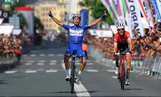 Julian Alaphilippe celebrates victory in 2018 race ahead of Bauke Mollema – both return this year