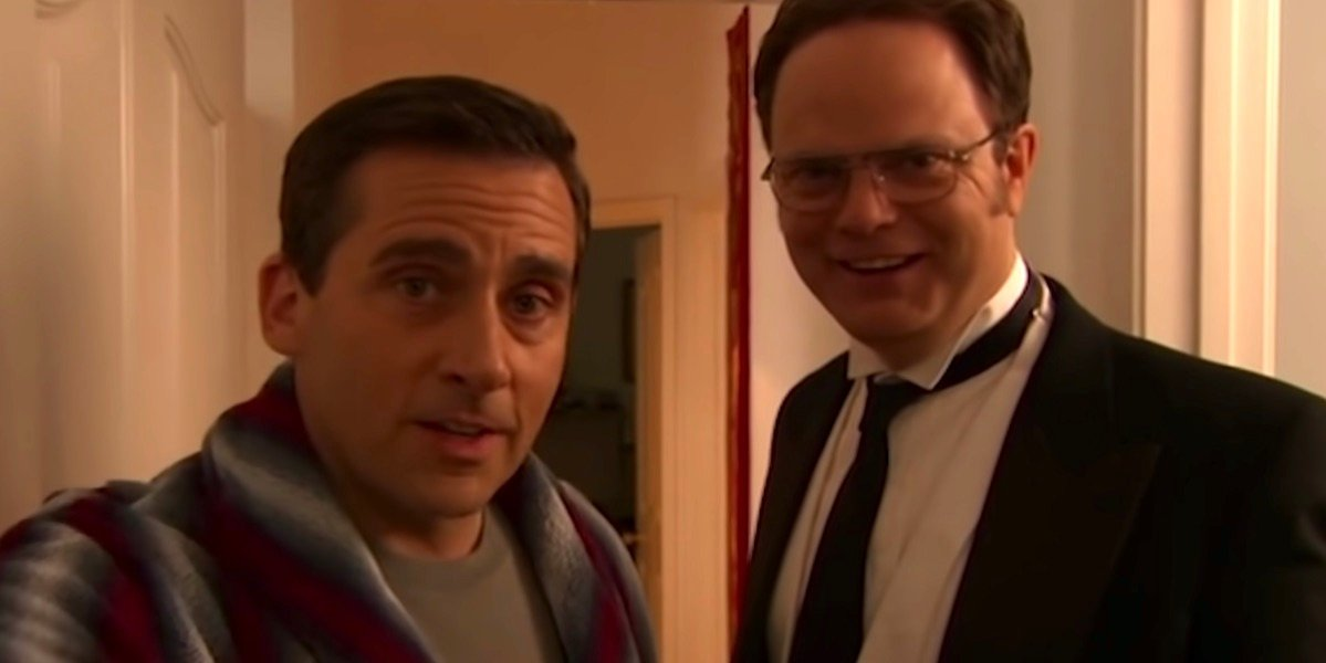 Michael and Dwight at the end of Threat Level Midnight post-credit scene