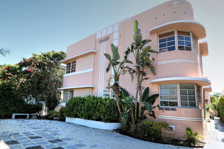 large pink art deco style house