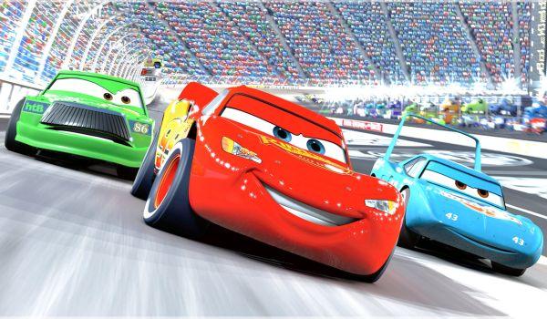 Lightning McQueen racing in Cars