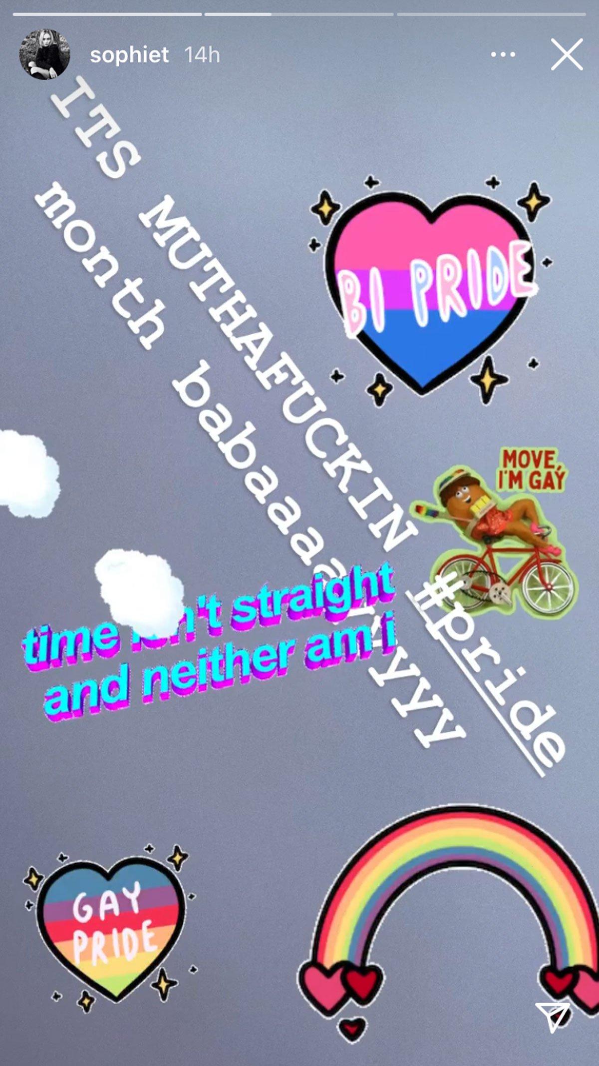 sophie turner pride month post