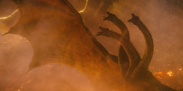 King Ghidorah roaring on volcano