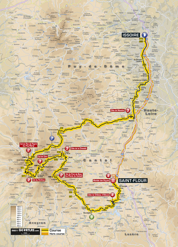 Stage 9 map, Tour de France 2011