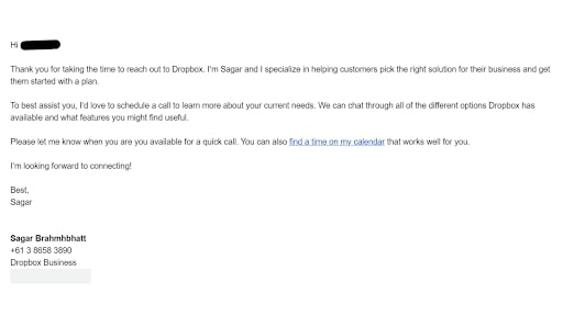 An email from Dropbox's customer support