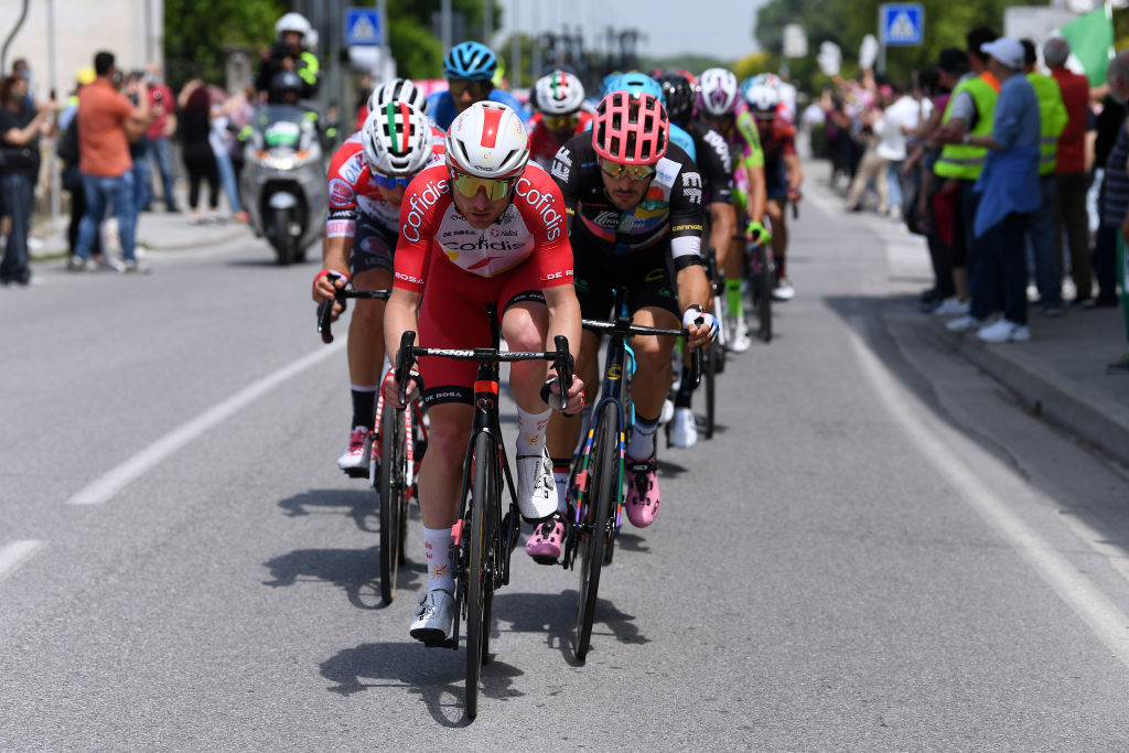 STRADELLA ITALY MAY 27 Simone Consonni of Italy and Team Cofidis in the Breakaway during the 104th Giro dItalia 2021 Stage 18 a 231km stage from Rovereto to Stradella UCIworldtour girodiitalia Giro on May 27 2021 in Stradella Italy Photo by Tim de WaeleGetty Images