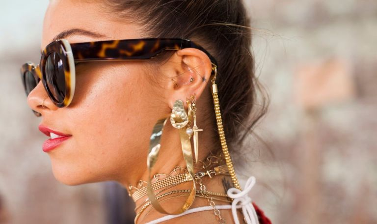 Dancer, Model and Social Influencer Mimi Elashary wearing Pamela Love and Maniamania jewellery and Lucy Folk sunglasses during Mercedes-Benz Fashion Week Resort 18 Collections