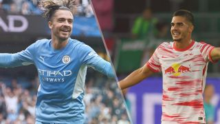 Manchester City vs RV Leipzig live stream — Jack Grealish of Manchester City and Andre Silva of RB Leipzig