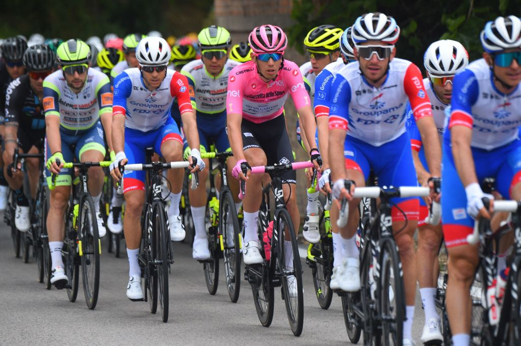 Overall leader Team GroupamaFDJ rider Hungarys Attila Valter C rides during the seventh stage of the Giro dItalia 2021 cycling race 181 km between Notaresco and Termoli on May 14 2021 Photo by Dario BELINGHERI AFP Photo by DARIO BELINGHERIAFP via Getty Images