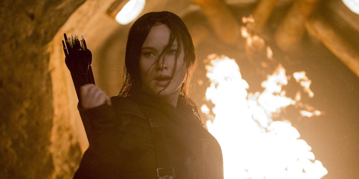 Jennifer Lawrence as Katniss Everdeen in Hunger Games: Mockingjay Part 2