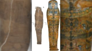 This beautifully decorated coffin (right) doesn't belong to the unusual mud-wrapped mummy (left) that was found inside it.