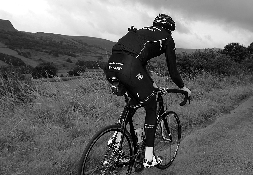 Zak Dempster in Edale Valley, Rapha Condor Sharp training in Peak District, August 2011