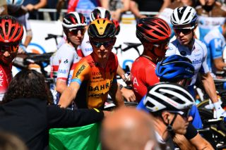 Matej Mohorič (Bahrain-McLaren) lining up at the 2020 Tour de France