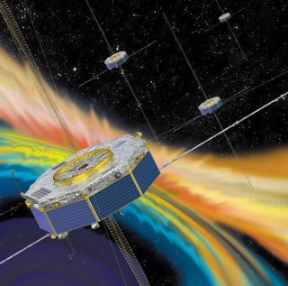 A colorful illustration shows the spacecraft of the Magnetospheric Multiscale Mission passing through the plasma of space.