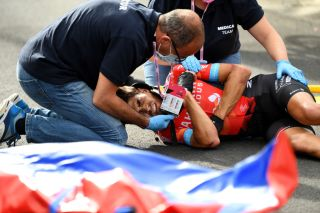 Mikel Landa (Bahrain Victorious) in pain after crashing in the finale of stage 5 of the 2021 Giro d'Italia