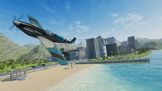 Balsa Model Fight Sim - A small single-prop plane tips its wing over a sunny beach