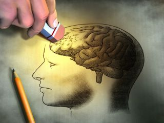 a picture of a brain being erased.