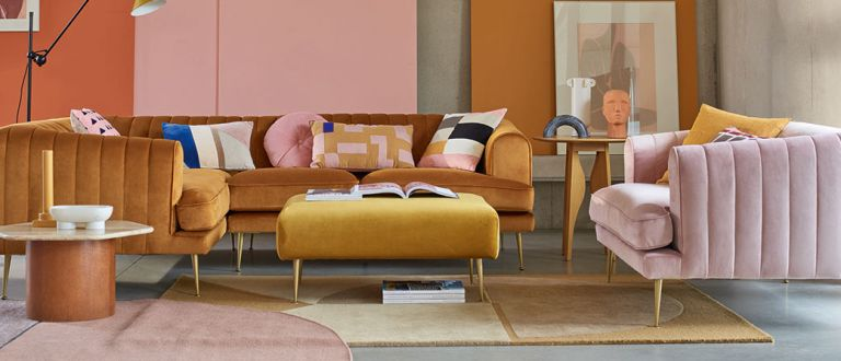 Yellow rooms: DFS sofas in yellow living room