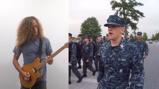 Andre Antunes riffing along to navy march