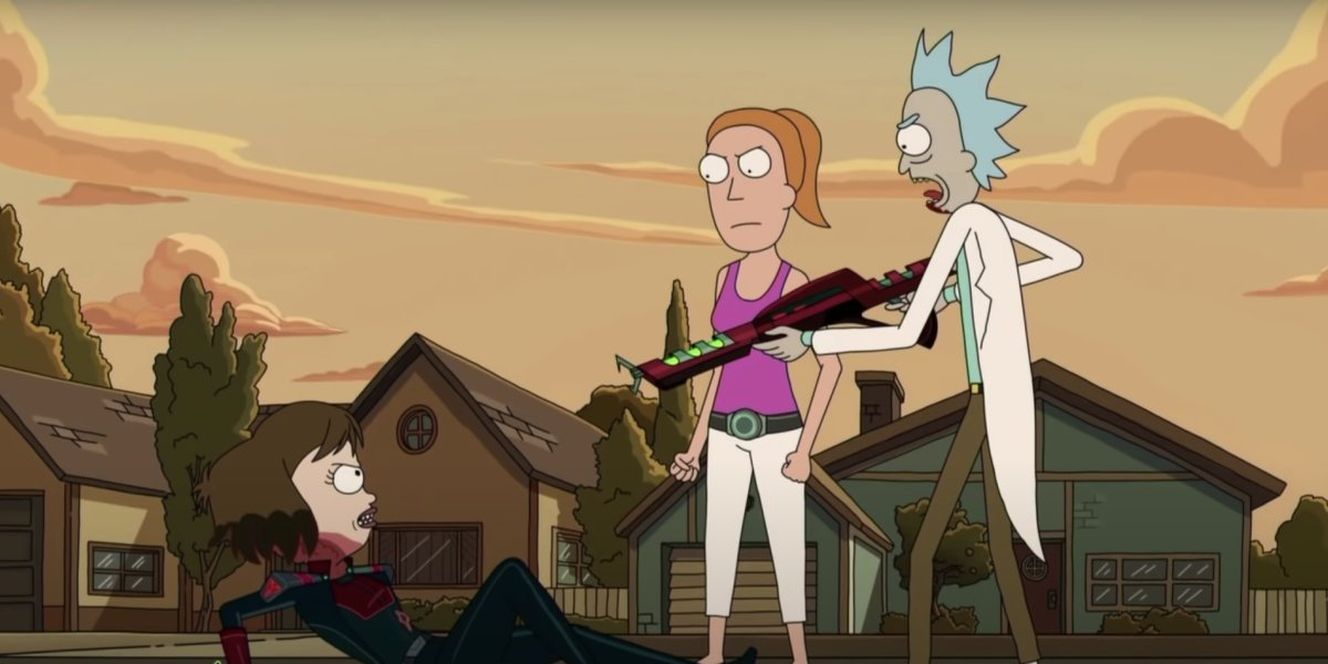 Tammy, Summer, and Rick on Rick and Morty