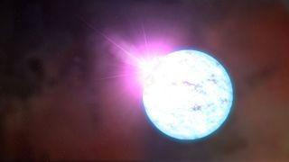 An illustration shows an outburst on a magnetar.