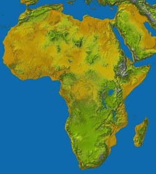 Topographic map of Africa