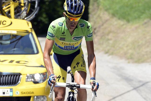 Alberto Contador attacks during stage 5 of the 2014 Criterium du Dauphine