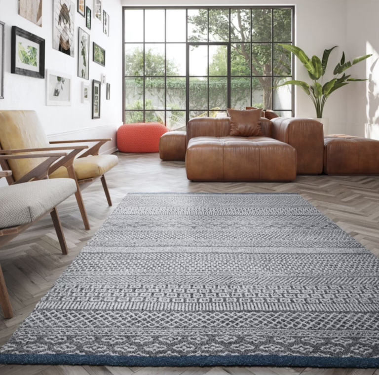 The Wayfair sale: living room with rug and leather sofa