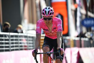 SESTRIERE ITALY OCTOBER 24 Arrival Wilco Kelderman of The Netherlands and Team Sunweb Pink Leader Jersey Disappointment during the 103rd Giro dItalia 2020 Stage 20 a 190km stage from Alba to Sestriere 2035m girodiitalia Giro on October 24 2020 in Sestriere Italy Photo by Stuart FranklinGetty Images