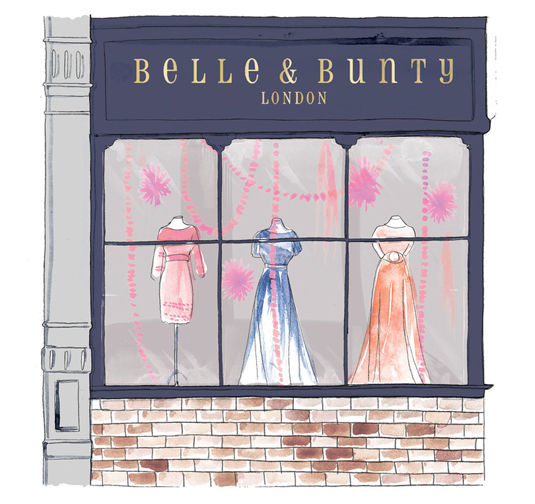 An architectural drawing of Belle & Bunting clothes shop