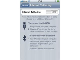The iPhone tethering option has popped up in iPhone 3.0